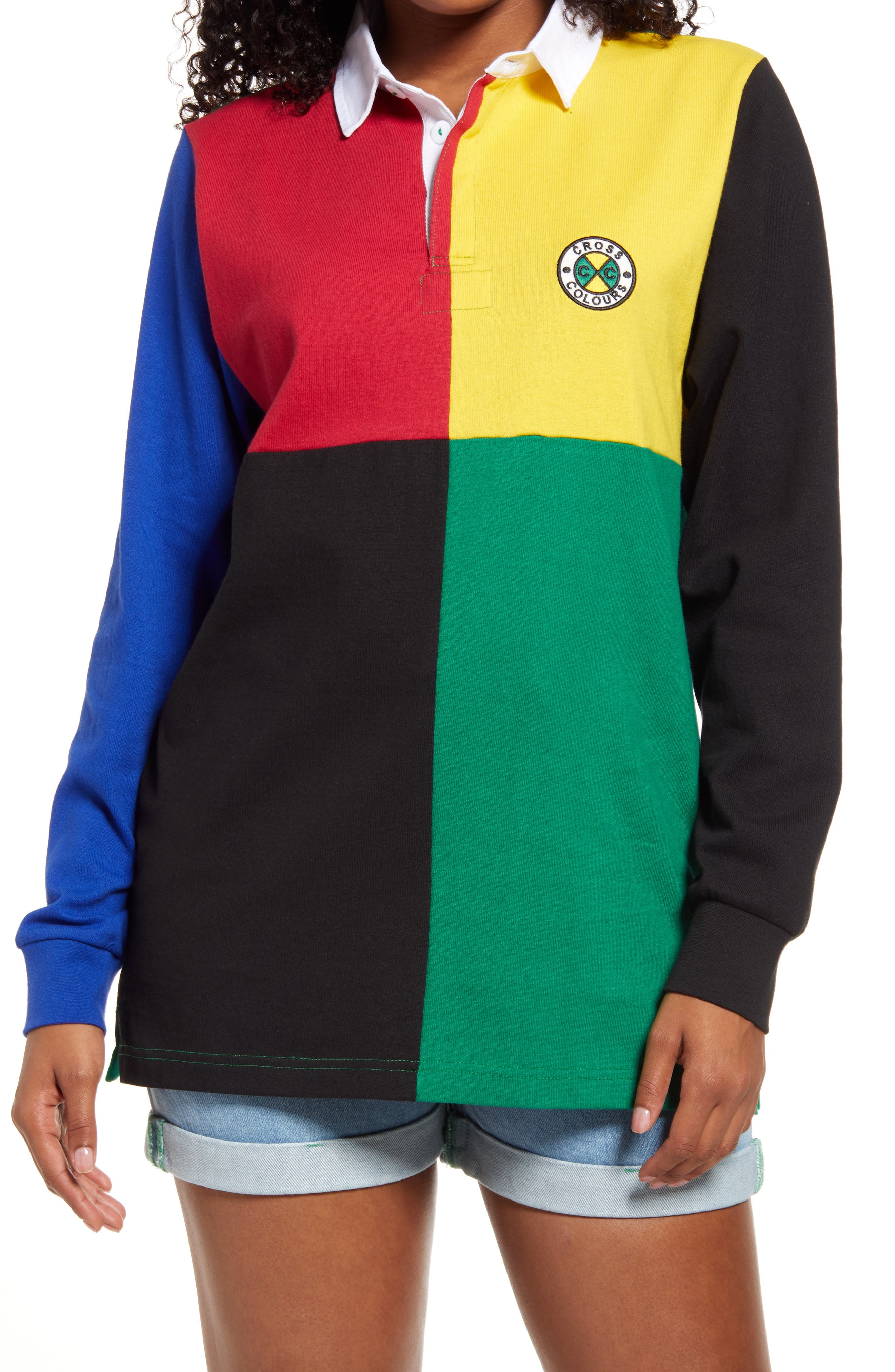 Colorblock Long Sleeve Cotton Rugby T-Shirt