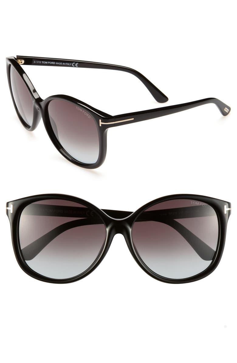 TOM FORD Alicia 59mm Sunglasses, Main, color, 001
