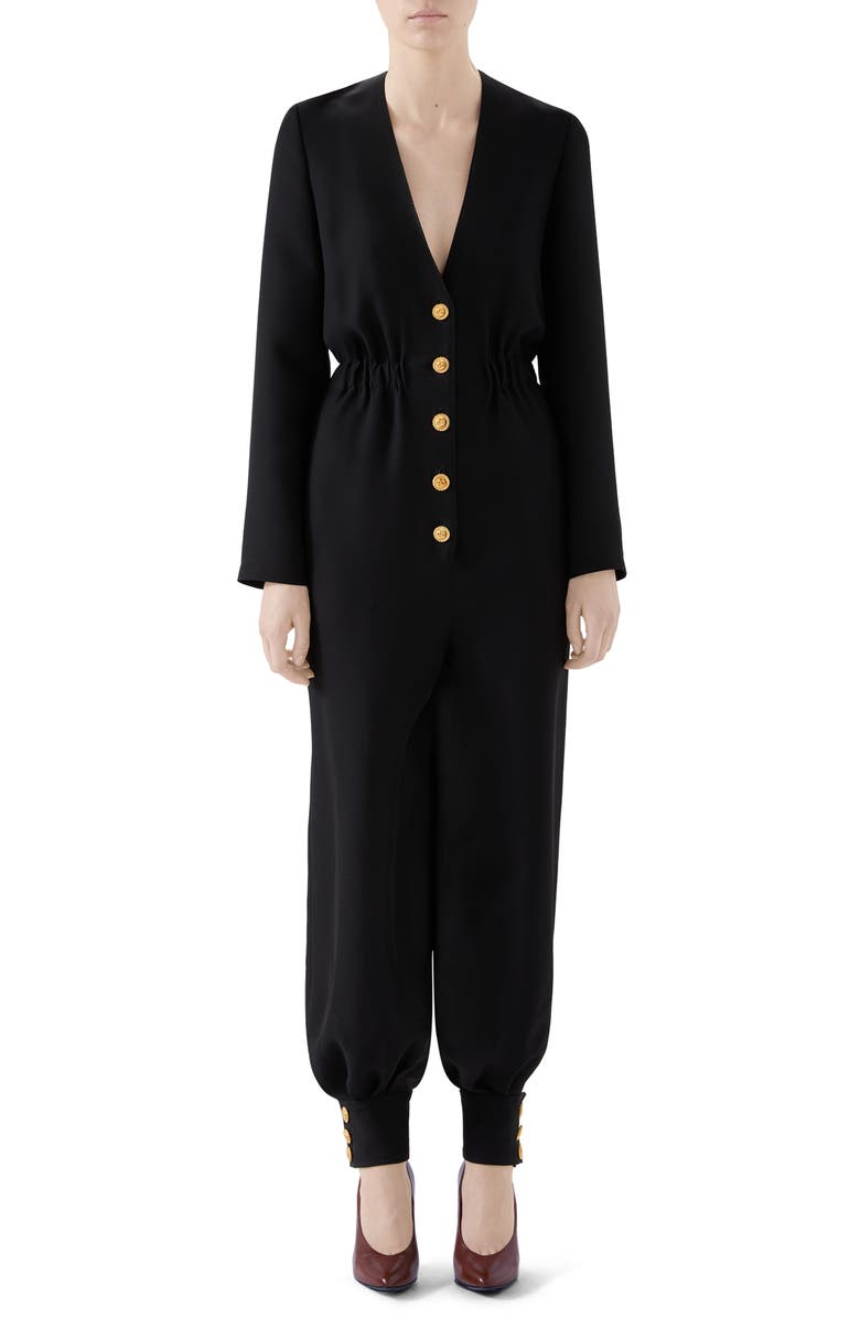 GUCCI Interlocking-G Button Cady Crepe Jumpsuit, Main, color, 001