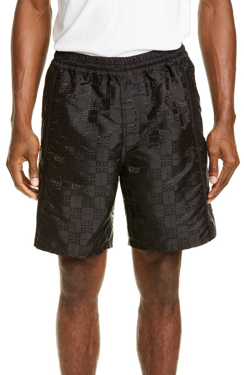 GIVENCHY 4G Nylon Athletic Shorts, Main, color, BLACK