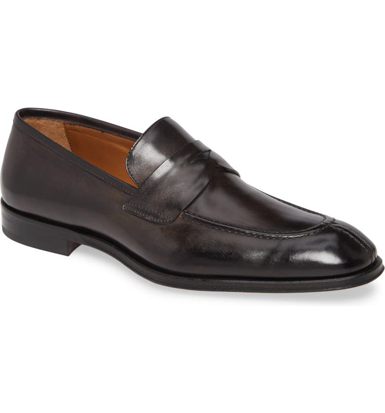 BRUNO MAGLI Luigi Penny Loafer, Main, color, DK GREY LEATHER