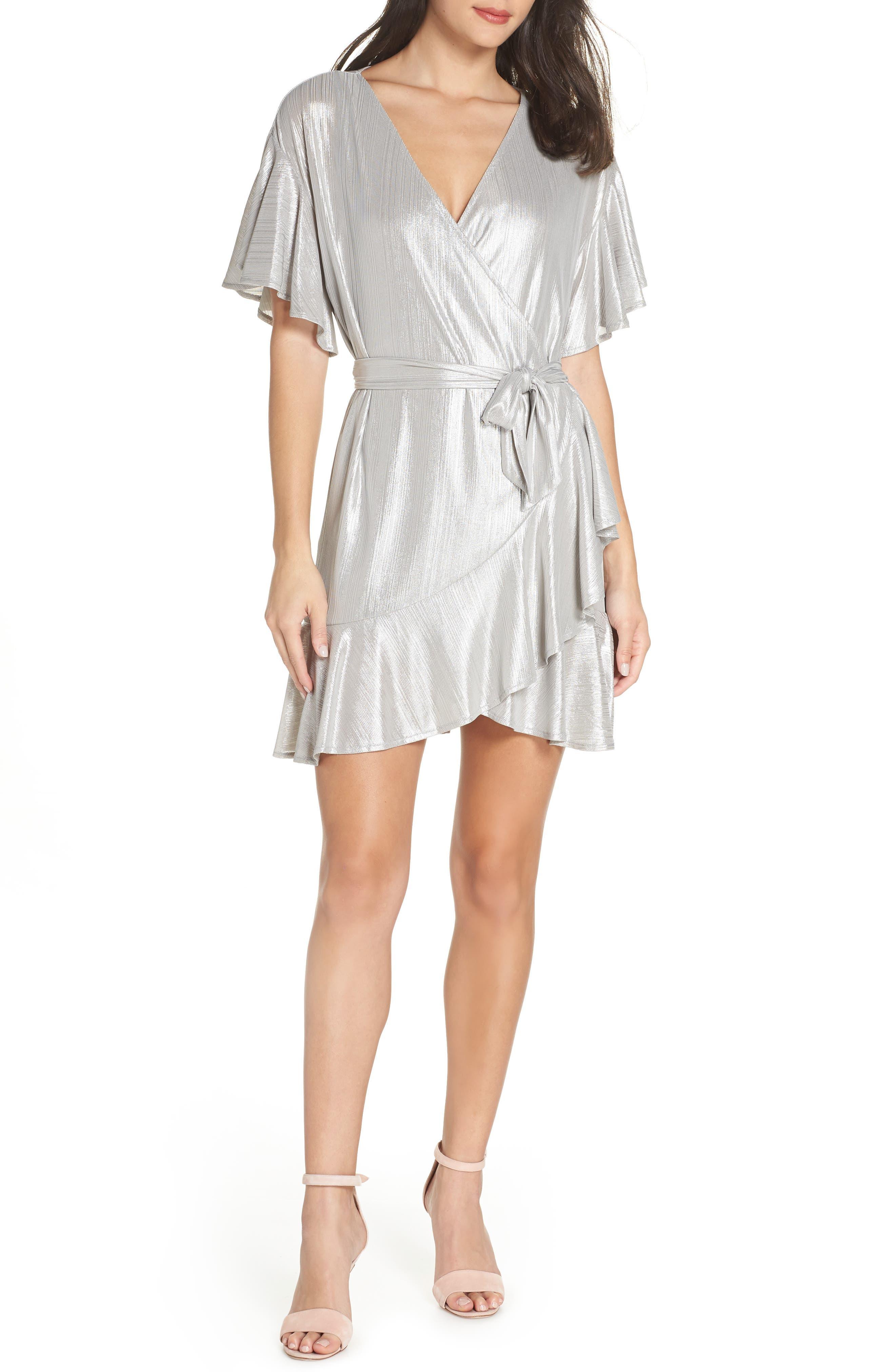 Metallic Ruffle Wrap Dress, Main, color, SILVER