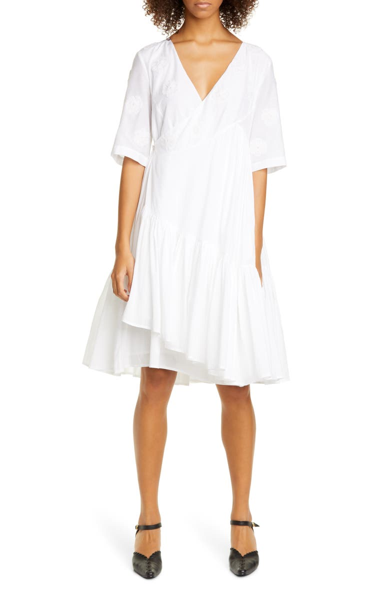 MERLETTE Aronia Floral Cotton & Silk Wrap Dress, Main, color, WHITE