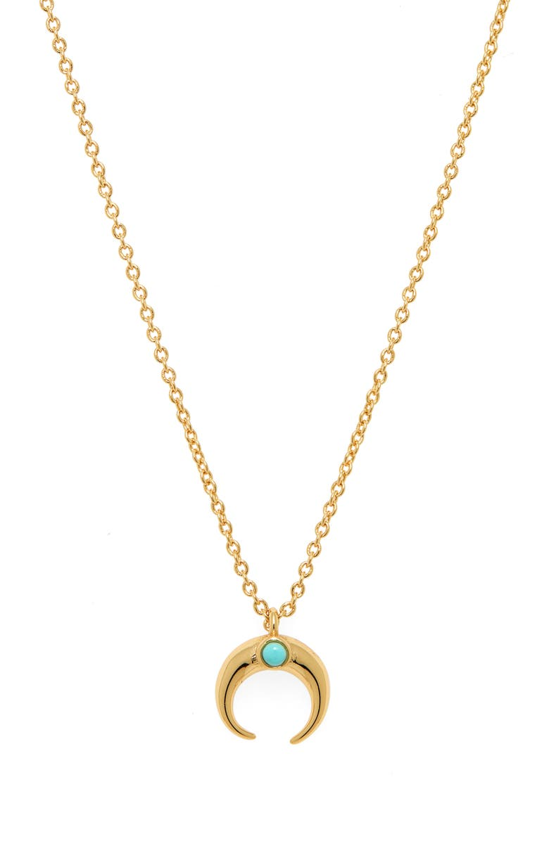 GORJANA Cayne Crescent Charm Necklace, Main, color, TURQ/ GOLD
