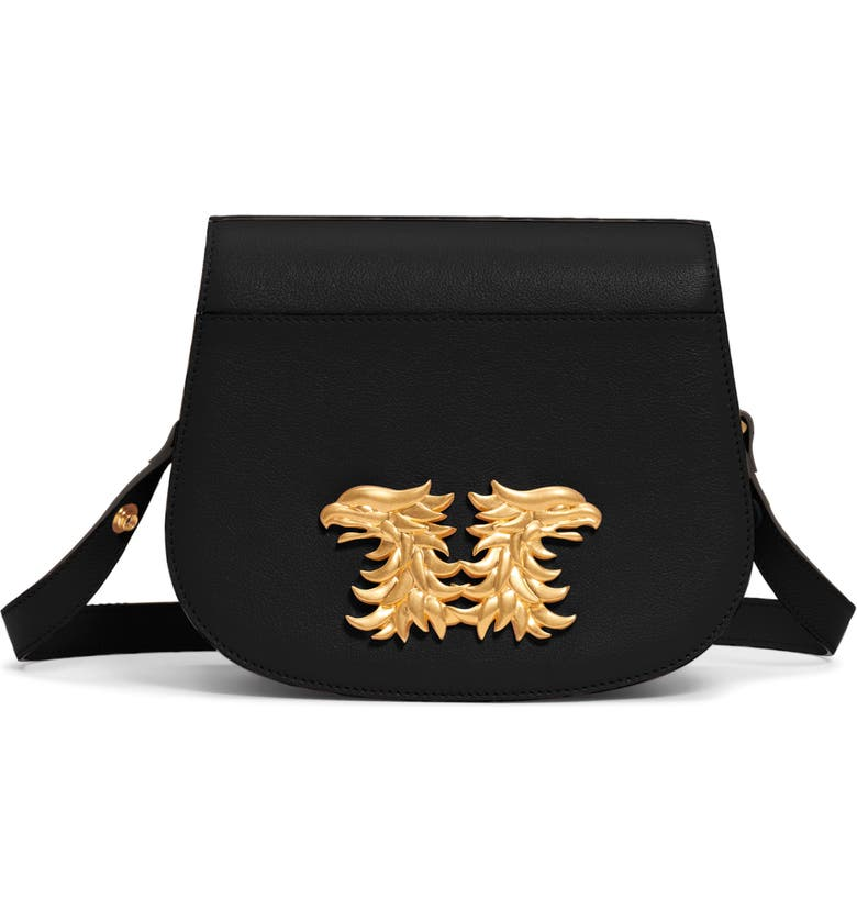 VALENTINO GARAVANI Maison Gryphon Leather Saddle Bag, Main, color, 001