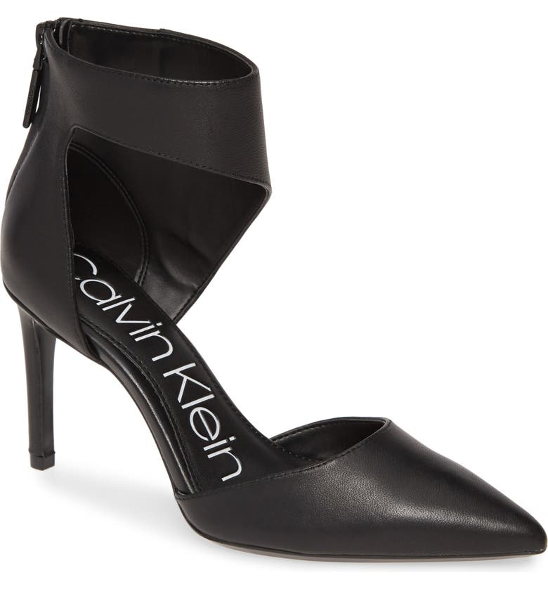 CALVIN KLEIN Rajon Ankle Wrap Pump, Main, color, BLACK NAPPA LEATHER