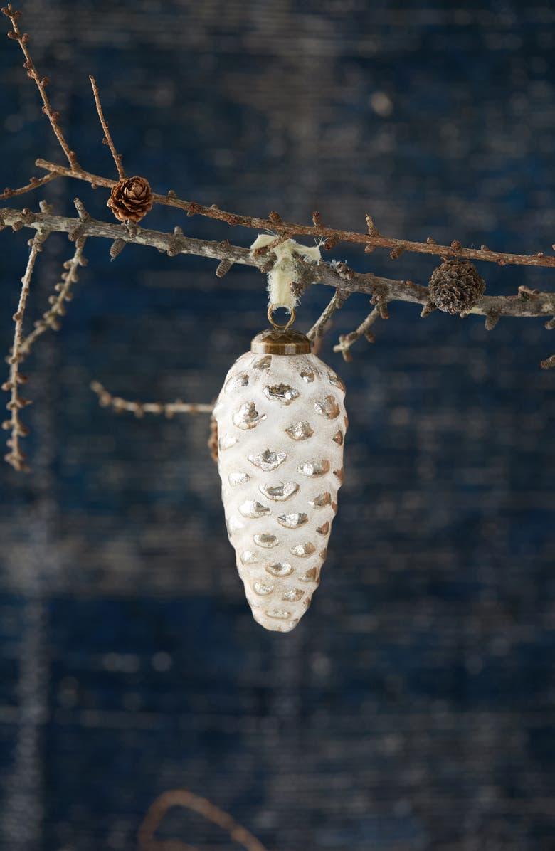 TERRAIN Medium Flocked Cone Ornament, Main, color, SILVER