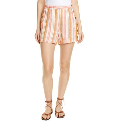 Joie Diradine Stripe Linen Shorts, Coral