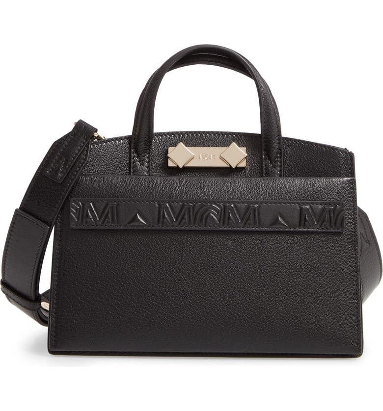 MCM Mini Milano Goatskin Leather Tote, Main, color, BLACK