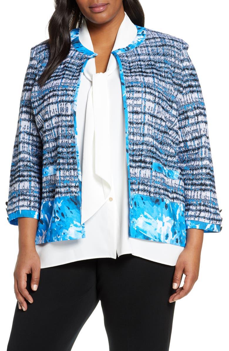 MING WANG Pattern Mix Collarless Jacket, Main, color, 341