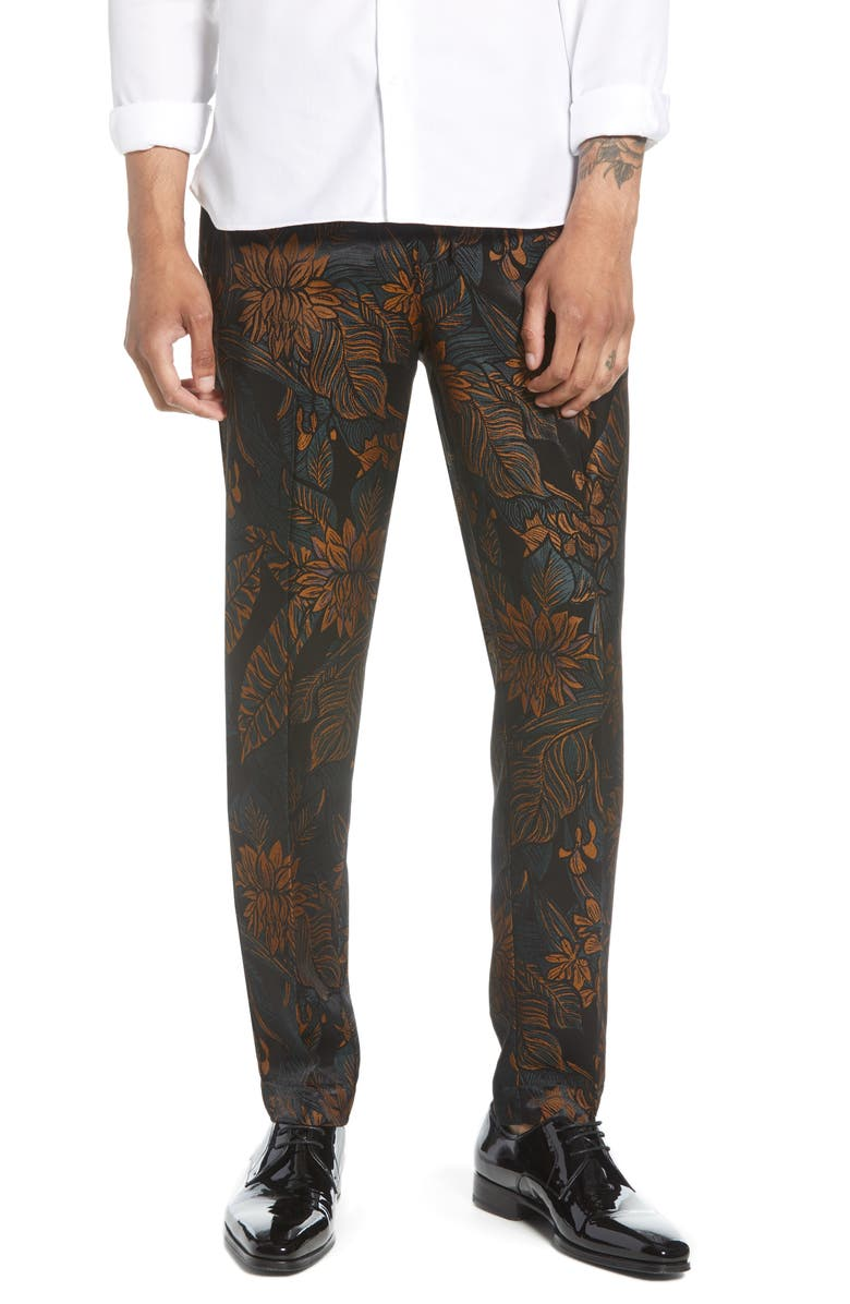 TOPMAN Tego Floral Jacquard Skinny Fit Dress Pants, Main, color, NAVY MULTI