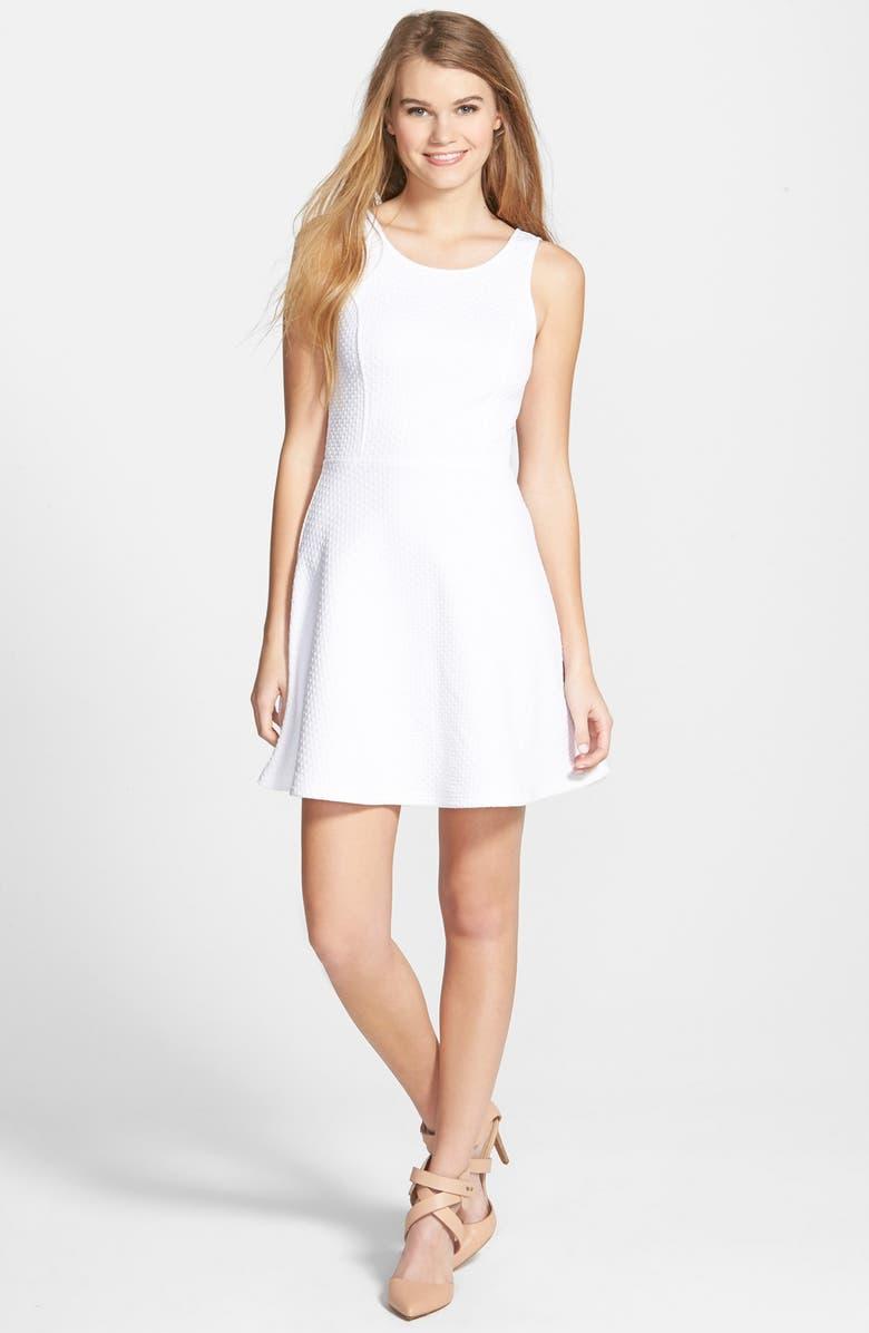 FRENCHI <sup>®</sup> 'Spring Dot' Cutout Back Skater Dress, Main, color, 100