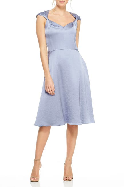 Image of Gal Meets Glam Marion Satin Twist Cap Sleeve Fit & Flare Dress