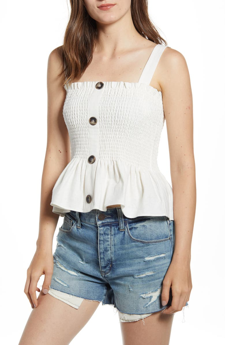 SOCIALITE Button Front Smocked Tank, Main, color, IVORY
