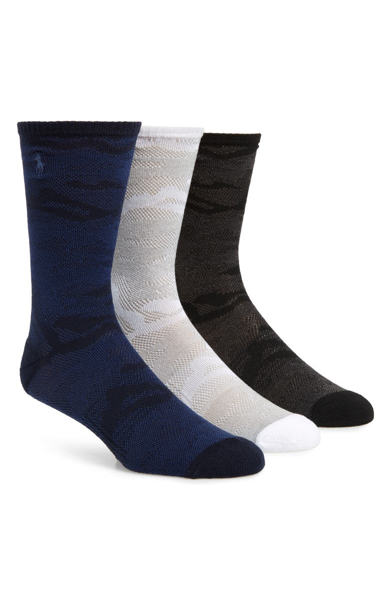 POLO RALPH LAUREN Ralph Lauren 3-Pack Mesh Camo Crew Socks, Main, color, GREY MULTI