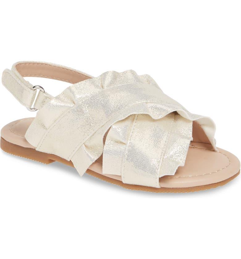SOMETHING NAVY Ruffle Sandal, Main, color, 250