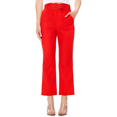 Afrm Rayna Belted Linen Blend Crop Flare Pants, Red