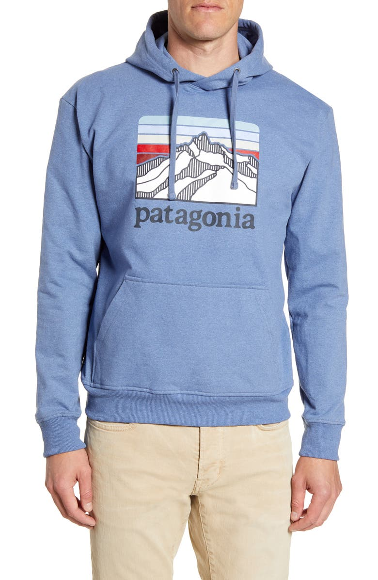 PATAGONIA Line Ridge Logo Graphic Hoodie, Main, color, WOOLY BLUE