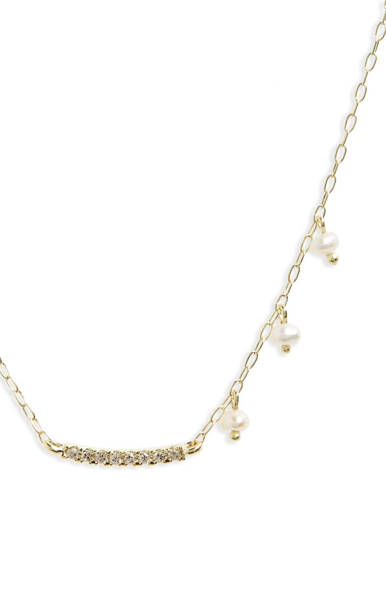 MEIRA T Diamond & Pearl Bar Pendant Necklace, Main, color, YELLOW GOLD