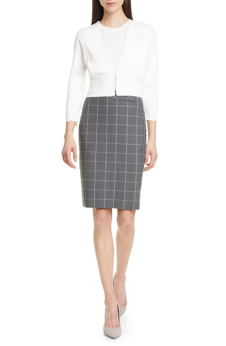 BOSS Vensina Windowpane Check Pencil Skirt, Main, color, 020