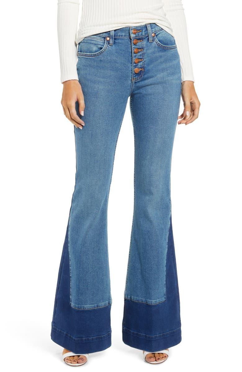 WRANGLER Contrast Hem High Waist Flare Jeans, Main, color, TOPAZ