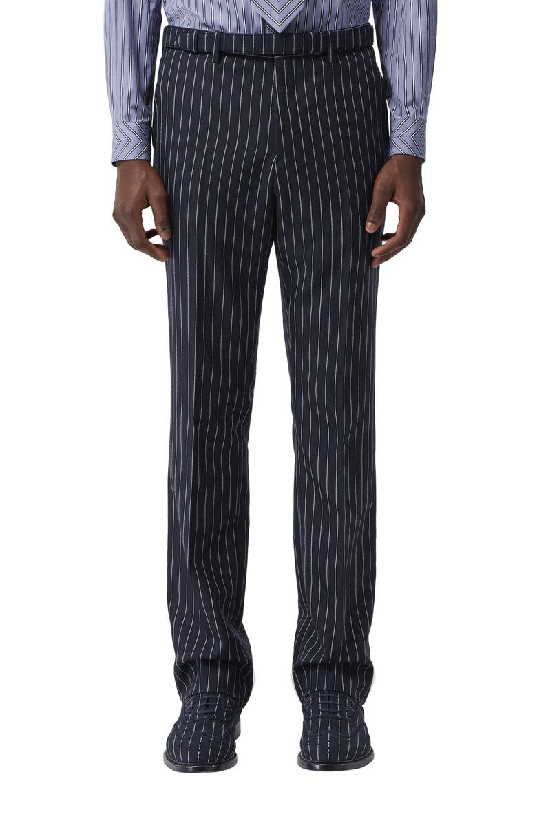 BURBERRY Pinstripe Straight Leg Wool Dress Pants, Main, color, DARK NAVY WHITE
