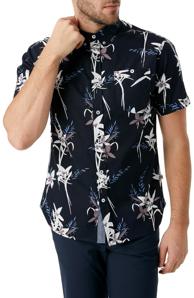 7 DIAMONDS Midnight Hour Slim Fit Tropical Short Sleeve Button-Down Shirt, Main, color, 466