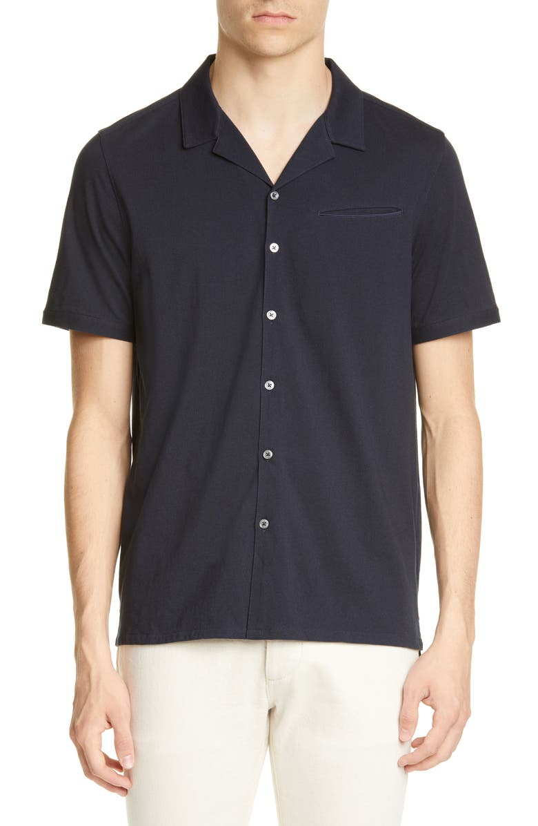 JOHN VARVATOS Regular Fit Short Sleeve Button-Up Knit Camp Shirt, Main, color, DARK NAVY