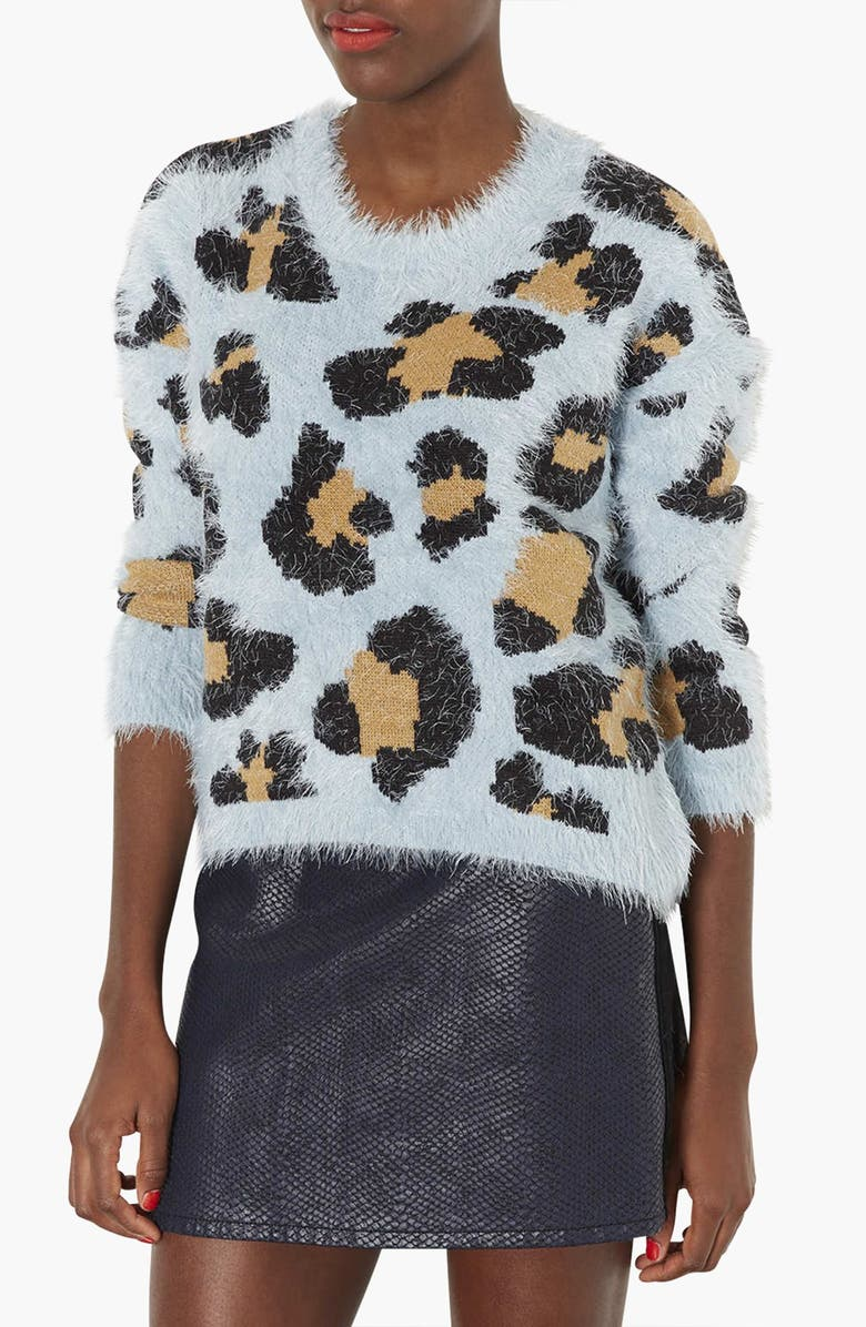 TOPSHOP Animal Print Textured Sweater, Main, color, 450