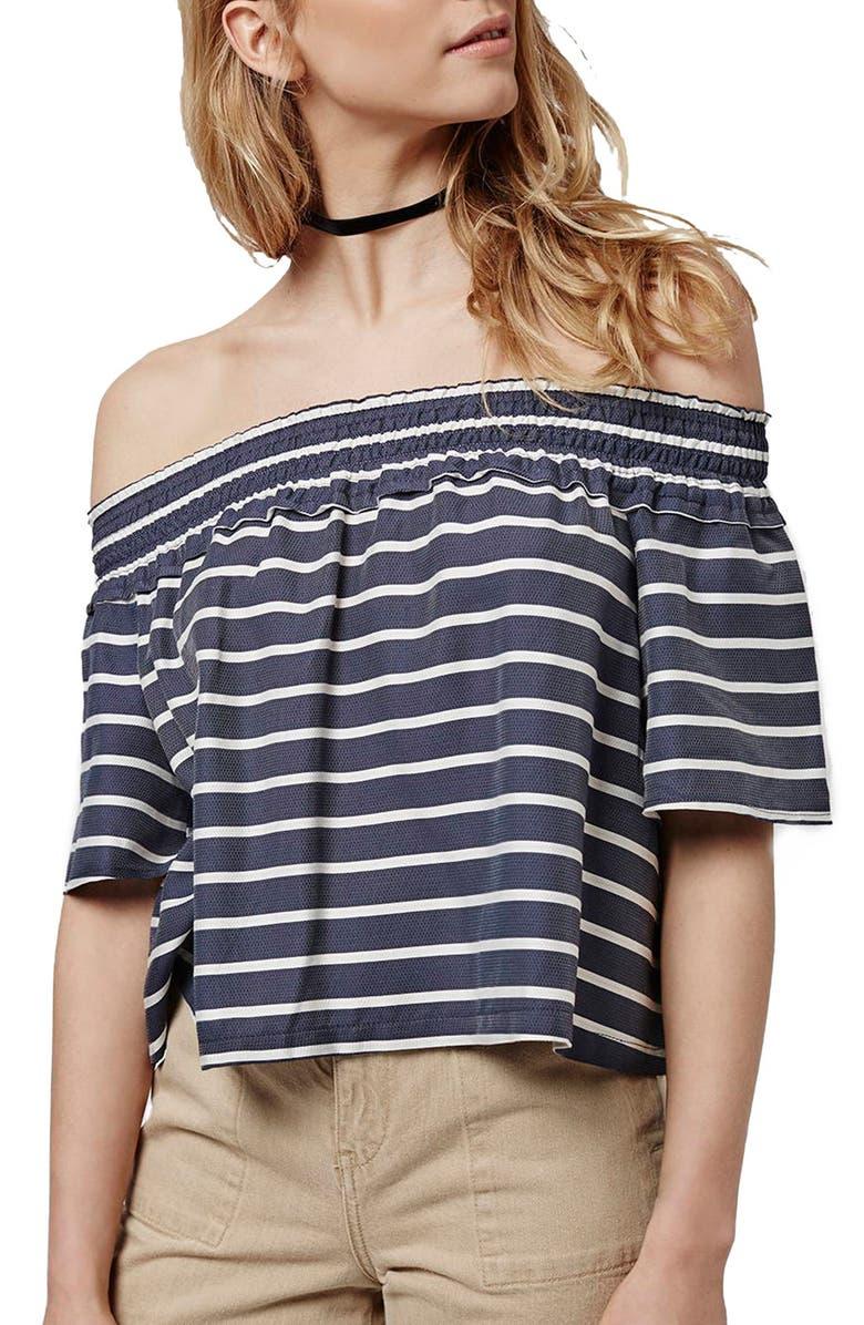 TOPSHOP 'Bardot' Stripe Smock Off the Shoulder Top, Main, color, 410