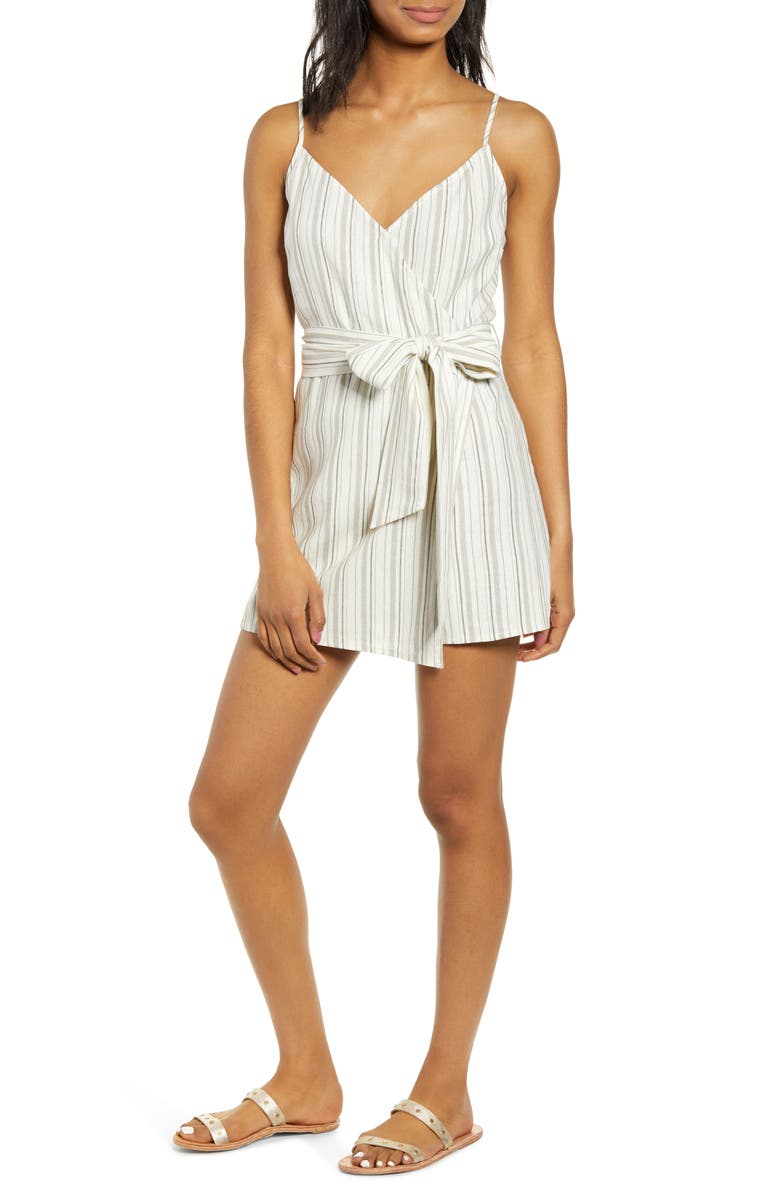 SOCIALITE Stripe Tie Waist Linen Blend Romper, Main, color, 400