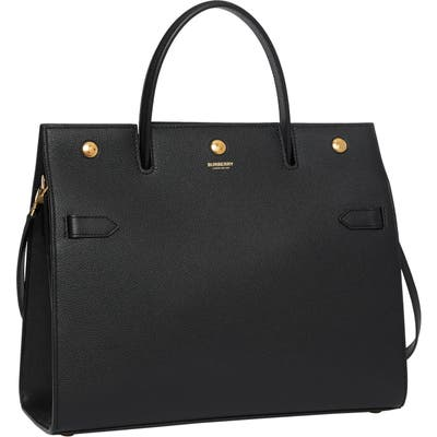 Burberry Medium Title Leather Bag - Black