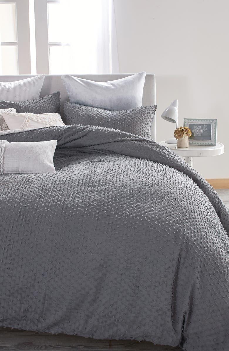 PERI HOME Dot Fringe Comforter & Sham Set, Main, color, CHARCOAL