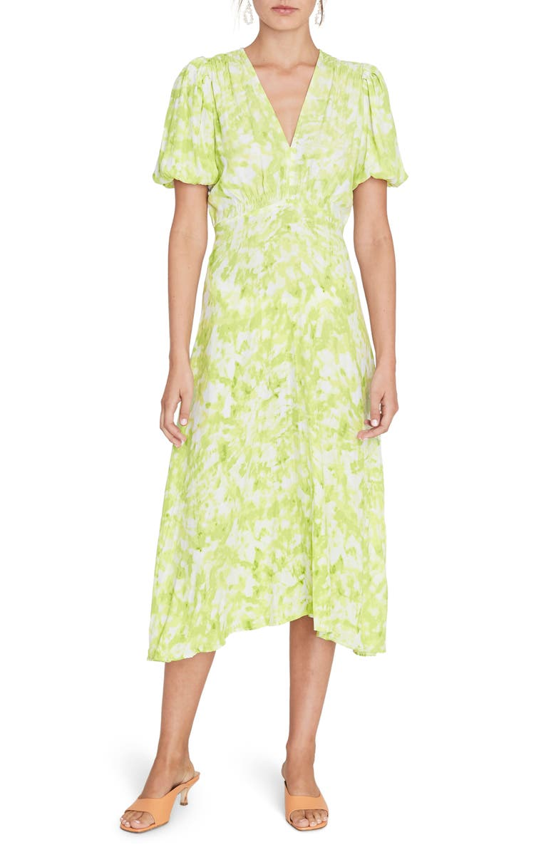 FAITHFULL THE BRAND Vittoria Midi Dress, Main, color, ROOS TIE DYE LIME