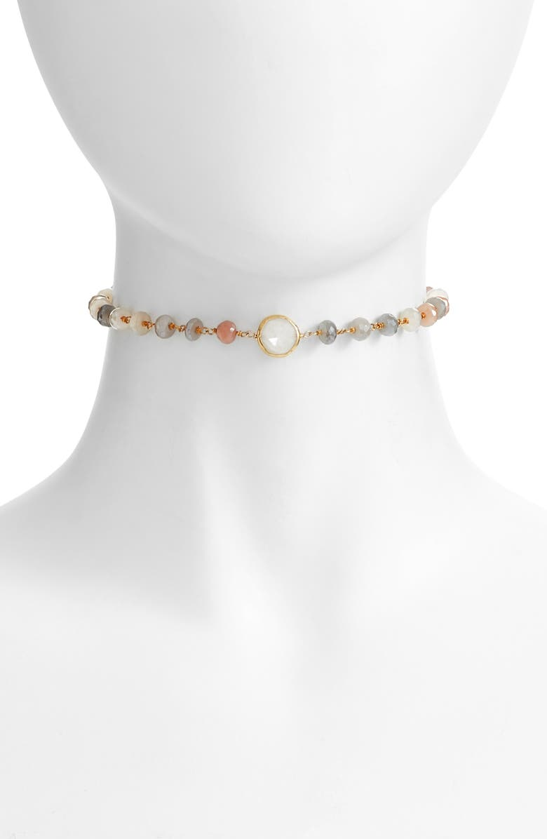 ELA RAE Libi Grand Choker Necklace, Main, color, MULTI MOONSTONE