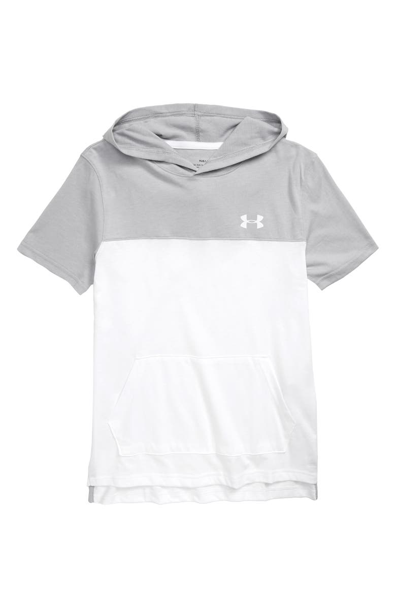 UNDER ARMOUR Sportstyle Short Sleeve Hoodie, Main, color, WHITE/ MOD GRAY