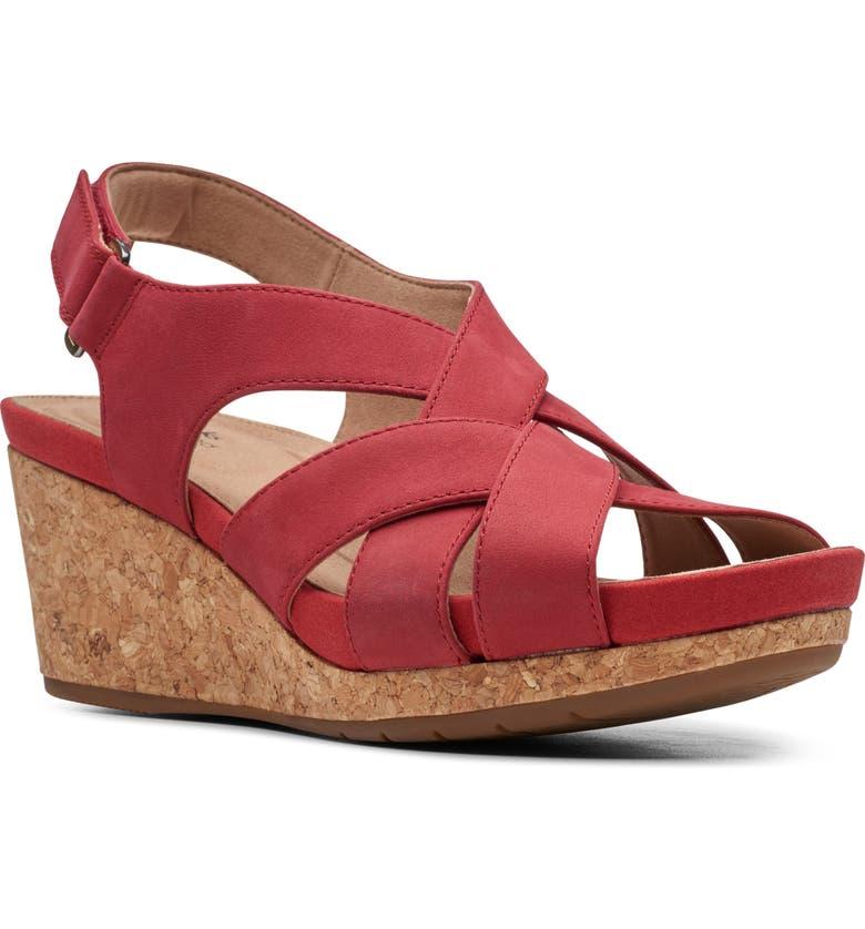 CLARKS<SUP>®</SUP> Un Capri Step Platform Wedge Sandal, Main, color, RED NUBUCK
