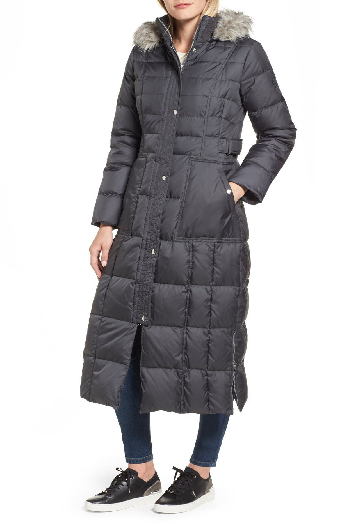 Image of Larry Levine Quilted Maxi Faux Fur Trim Hooded Coat