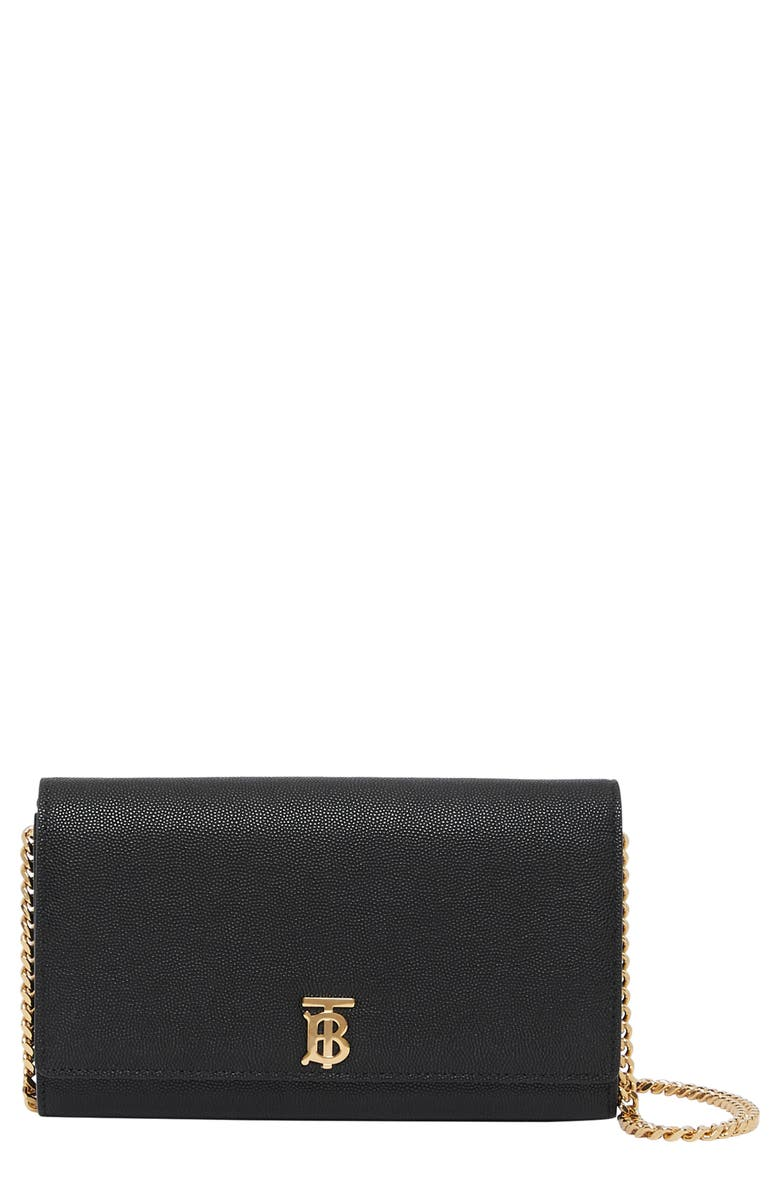 BURBERRY Hannah Leather Wallet on a Chain, Main, color, BLACK