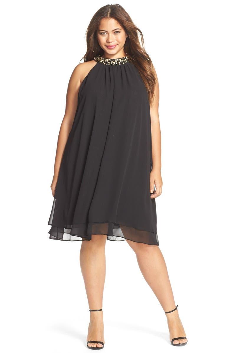Embellished Neck Chiffon Trapeze Dress