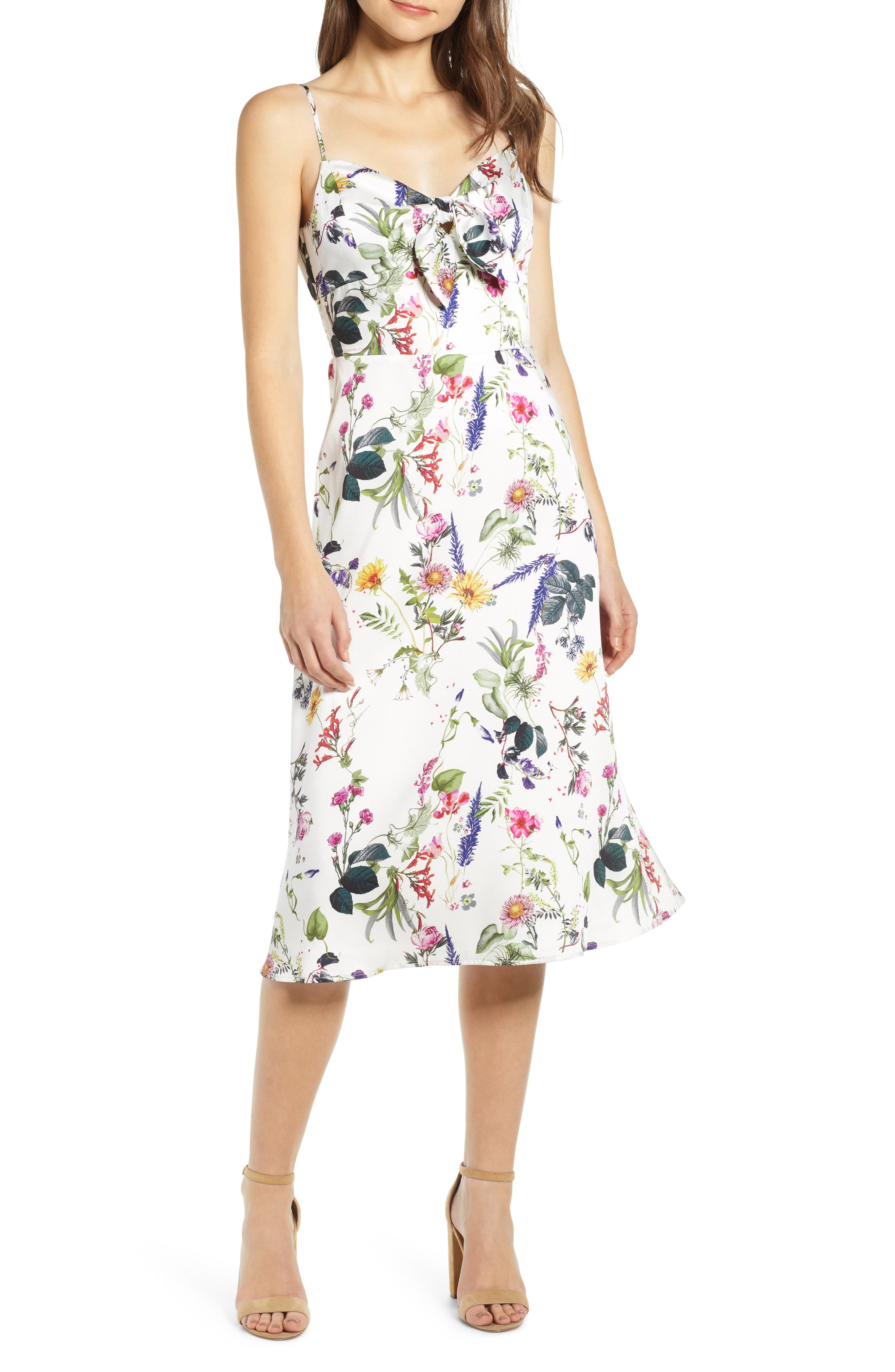Bailey 44 Puff Pastry Floral Satin Dress, White