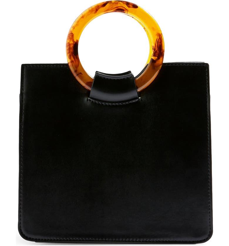 TOPSHOP Mini Adele Faux Leather Top Handle Bag, Main, color, 001