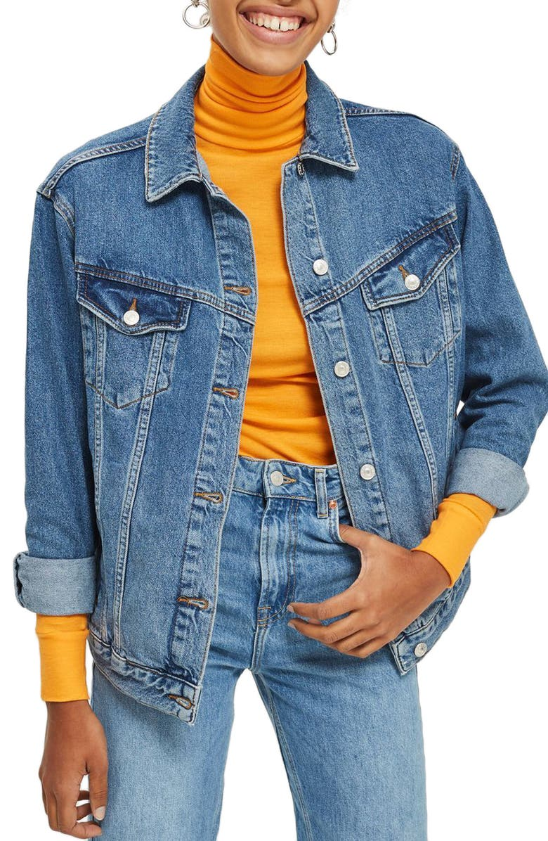 TOPSHOP Oversize Denim Jacket, Main, color, 421