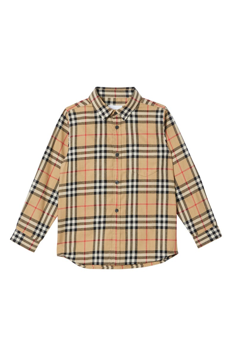 BURBERRY Fredrick Check Flannel Shirt, Main, color, ARCHIVE BEIGE