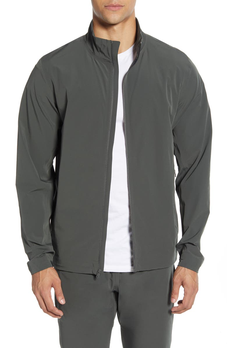 REIGNING CHAMP Stretch Nylon Track Jacket, Main, color, OLIVE