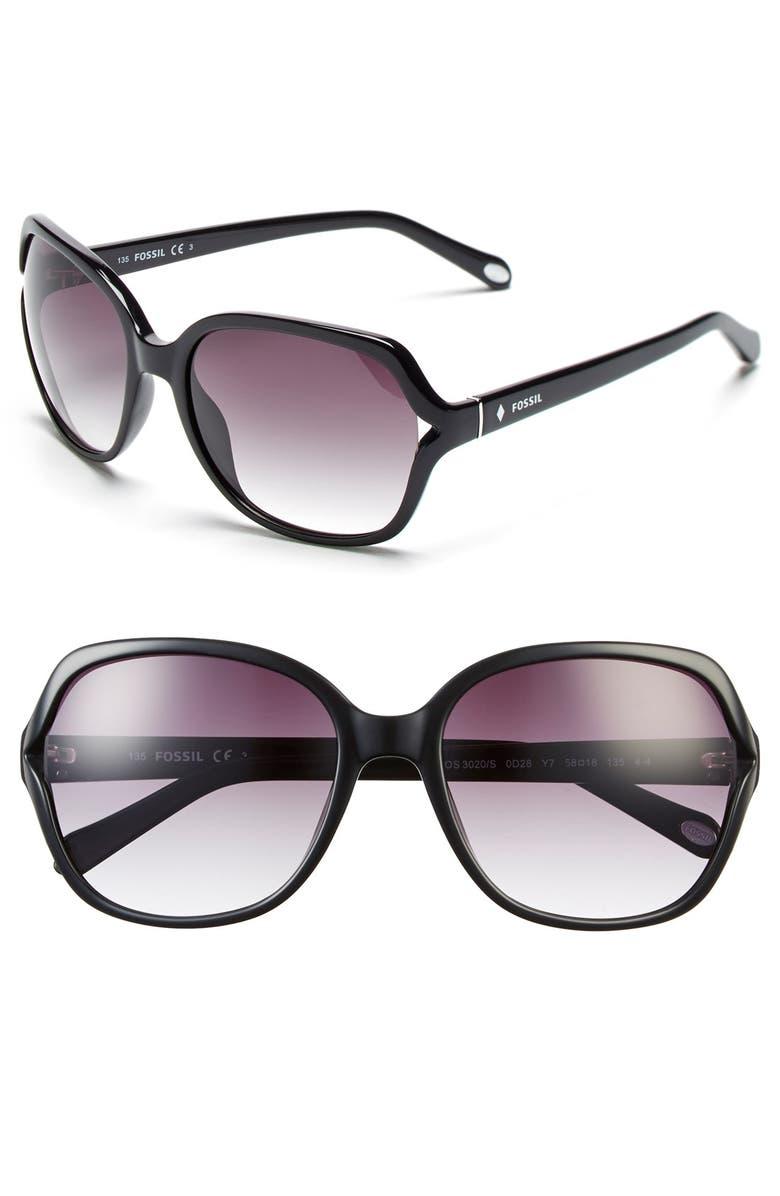 FOSSIL 'Jesse' 58mm Oversize Sunglasses, Main, color, 001