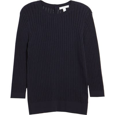 1901 Button Back Pointelle Sweater, Blue