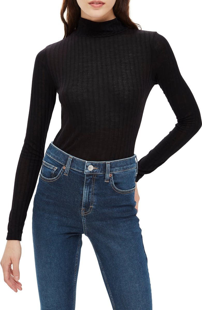 TOPSHOP Funnel Neck Shirt, Main, color, 001