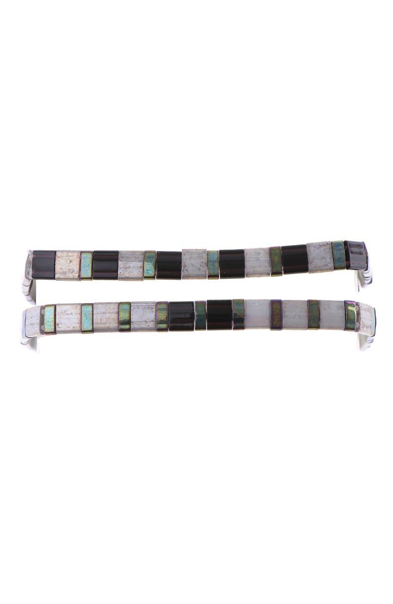 NAKAMOL CHICAGO Set of 2 Tila Beaded Bracelets, Main, color, GREY MIX