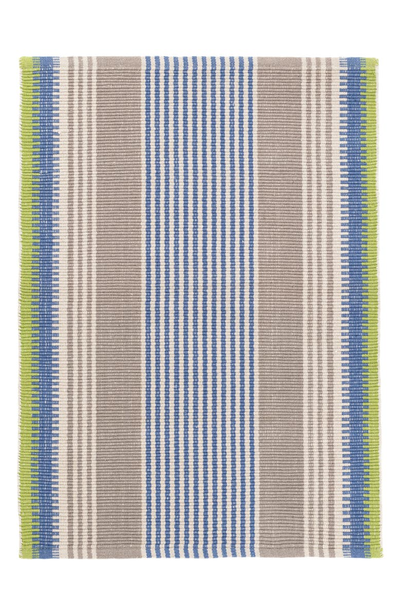 DASH & ALBERT York Stripe Woven Cotton Rug, Main, color, BLUE